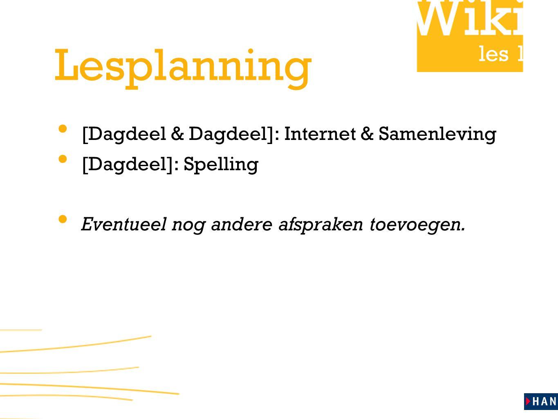 Lesplanning [Dagdeel & Dagdeel]: Internet & Samenleving